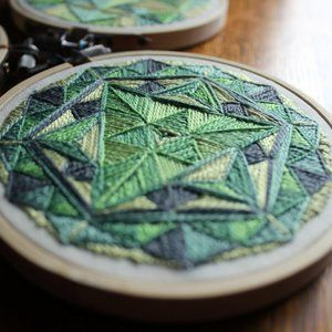 Geometric Mandala Hand Embroidered Textile Art
